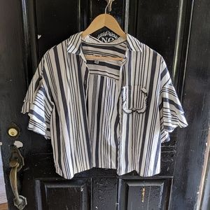 A new day stripe cropped button down top